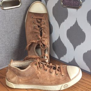 UGG 10/41 Tan Suede Leather & Shearling Sneakers